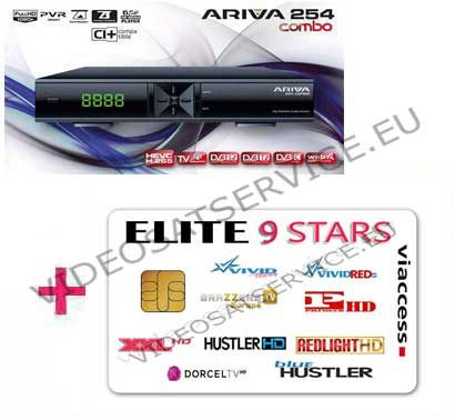 DECODER ARIVA 254 COMBO CON CARD ELITE 9 STARS 9 CANALI VIACCESS