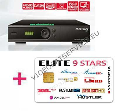 DECODER ARIVA 104 SATELLITE CON CARD ELITE 9 STARS 9 CANALI VIACCESS